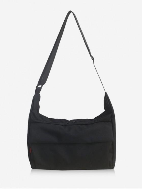 latest Leisure Solid Crossbody Bag - BLACK