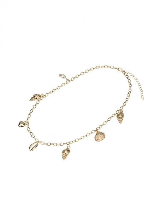 women Alloy Conch Cowrie Shell Chain Necklace - GOLDEN