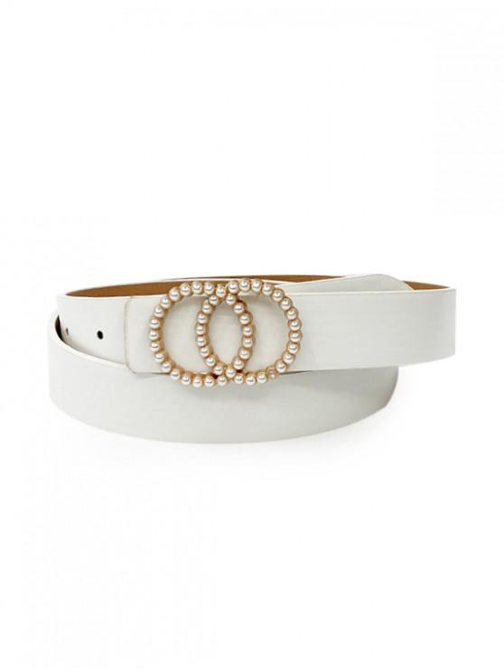 sale Double Circle Faux Pearl Belt - WHITE