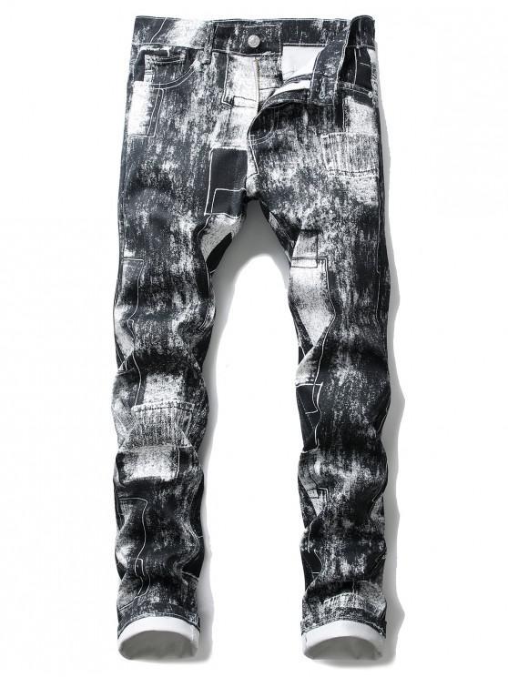 Jeans Ajustados Slim Fit Color Bloque Pierna Recta - Blanco 32