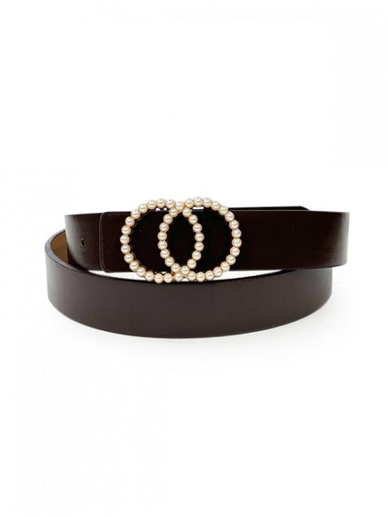 Double Circle Faux Pearl Belt - أسود