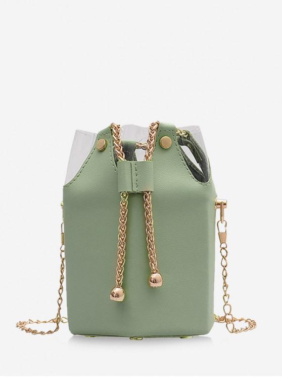 affordable Chain Drawstring Crossbody Bucket Bag - LIGHT GREEN