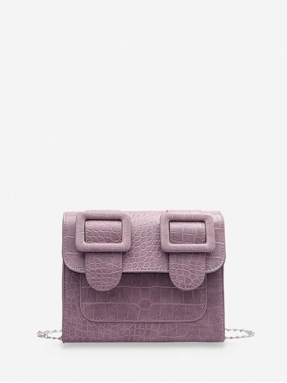 ladies Textured Chain Square Satchel Bag - LIGHT PURPLE