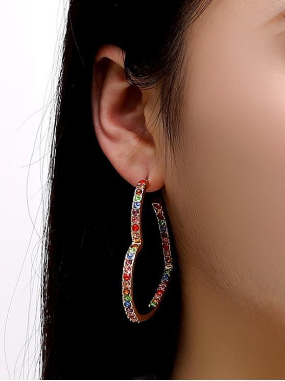 hot Colorful Rhinestone Heart Shape Hoop Earrings - GOLDEN