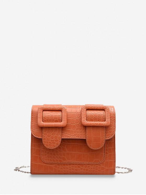 ladies Textured Chain Square Satchel Bag - ORANGE