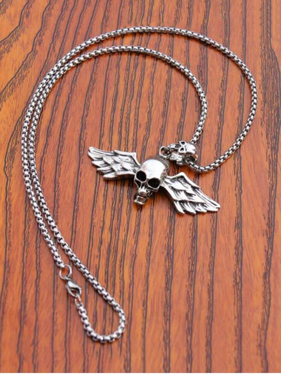 ladies Carved Skull Wing Titanium Steel Necklace - SILVER