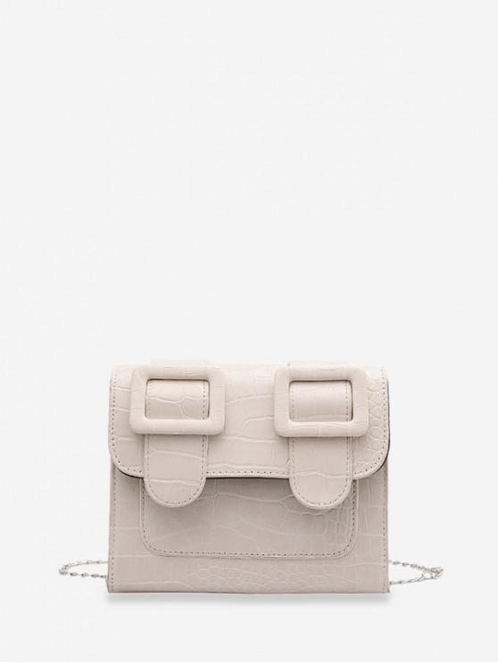 Textured Chain Square Satchel Bag - أبيض