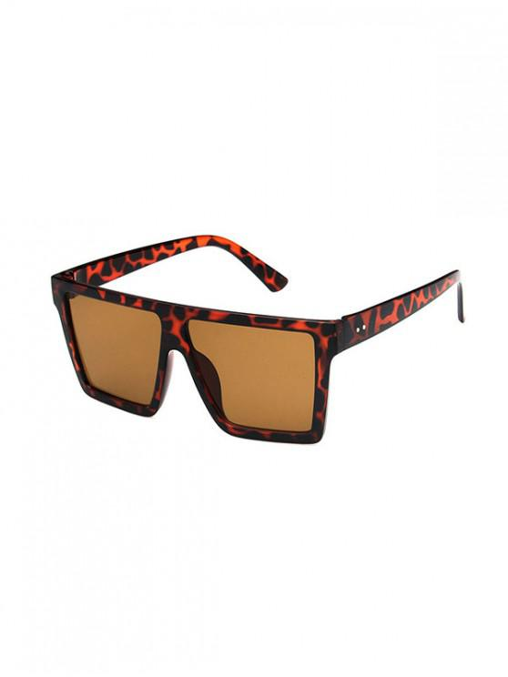 shops Retro Oversized Square Sunglasses - LEOPARD