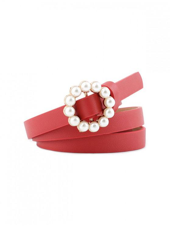 new Faux Pearl Buckle Decorative Waist Belt - RED