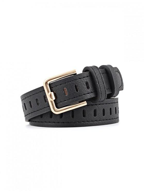 Alloy Buckle PU Leather Belt - أسود