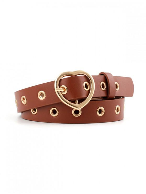 fashion Heart Shape Pin Buckle PU Leather Waist Belt - BROWN