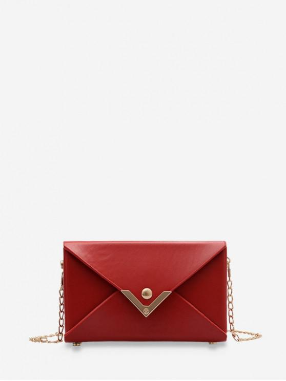 women Rectangle Chain Envelope Bag - DEEP RED