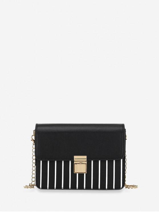 chic Striped Print Rectangle Chain Bag - BLACK