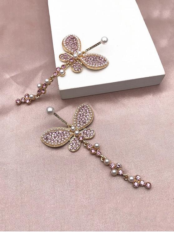fancy Faux Pearl Rhinestone Butterfly Earrings - PINK