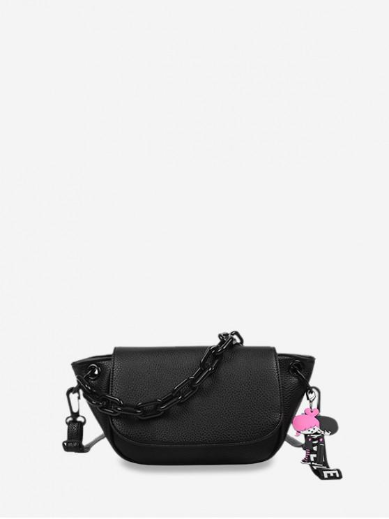 women's Chain Cartoon Hang Decorations Crossbody Bag - BLACK