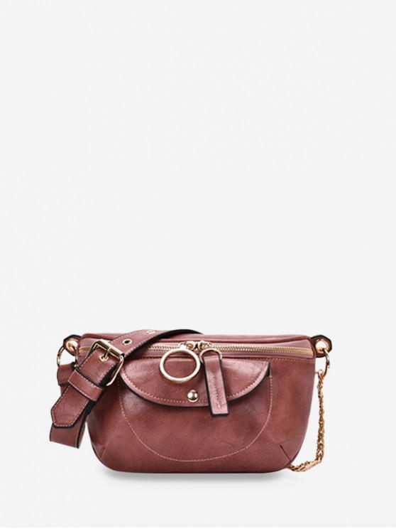 latest PU Chain Zipper Solid Crossbody Bag - PINK