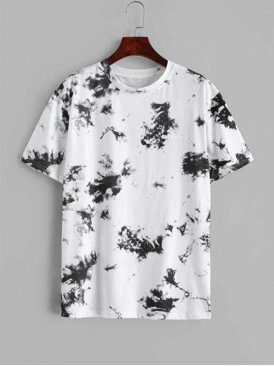 chic Tie Dye Letter Print Short Sleeve T-shirt - WHITE XL
