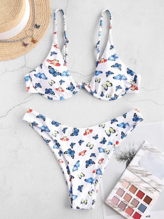buy ZAFUL Underwire Butterfly Print Brazilian Bikini Swimwear - LIGHT BLUE S