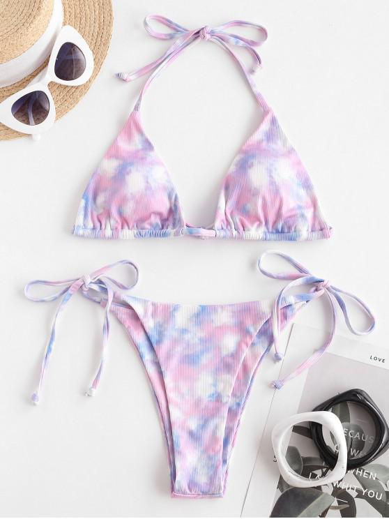 ZAFUL Bikini Fruncido de Tie-dye - purpúreo claro S