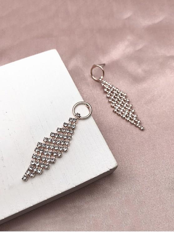 lady Rhombus Rhinestone Drop Earrings - GOLDEN