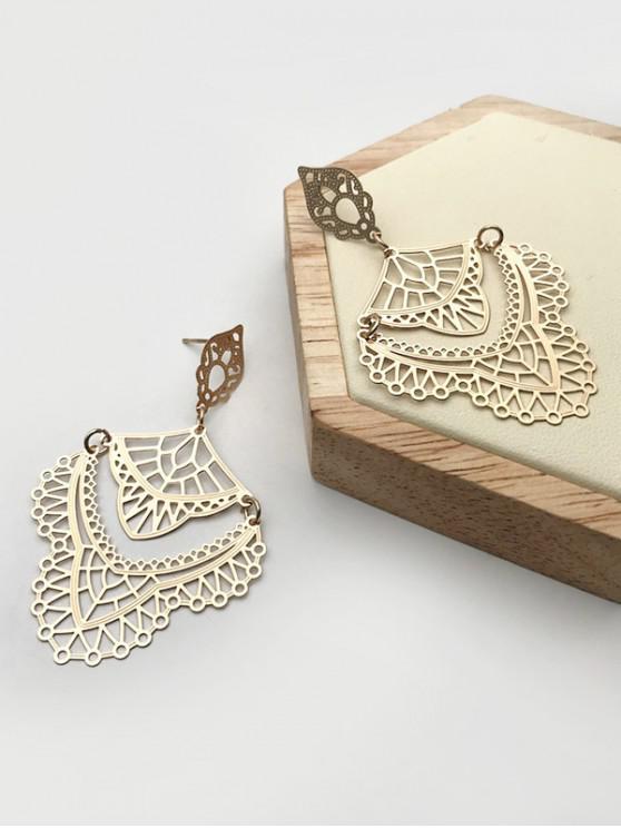 women's Hollow Out Pattern Alloy Drop Earrings - GOLDEN