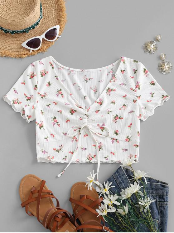 women ZAFUL Floral Print Ruched Cropped T-shirt - WHITE S