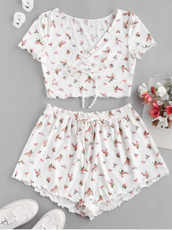 lady ZAFUL Floral Lettuce Trim Cinched Ruffle Ribbed Shorts Set - WHITE L