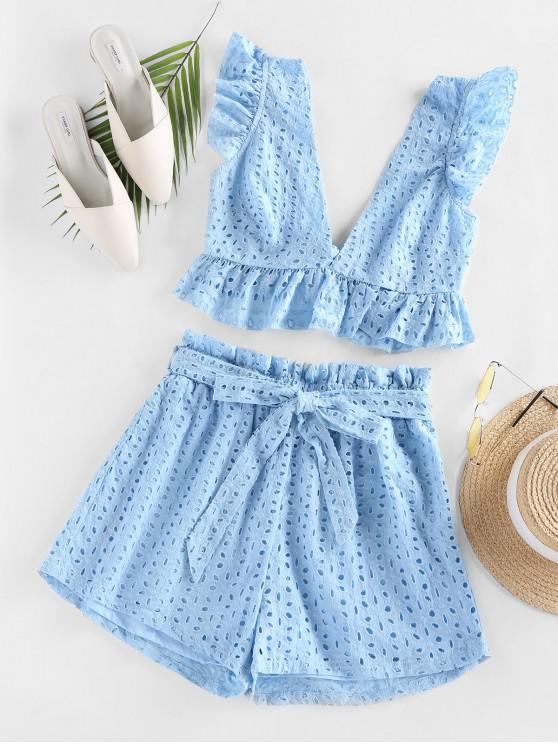 outfits ZAFUL Eyelet Ruffle Plunging Belted Shorts Set - LIGHT BLUE L