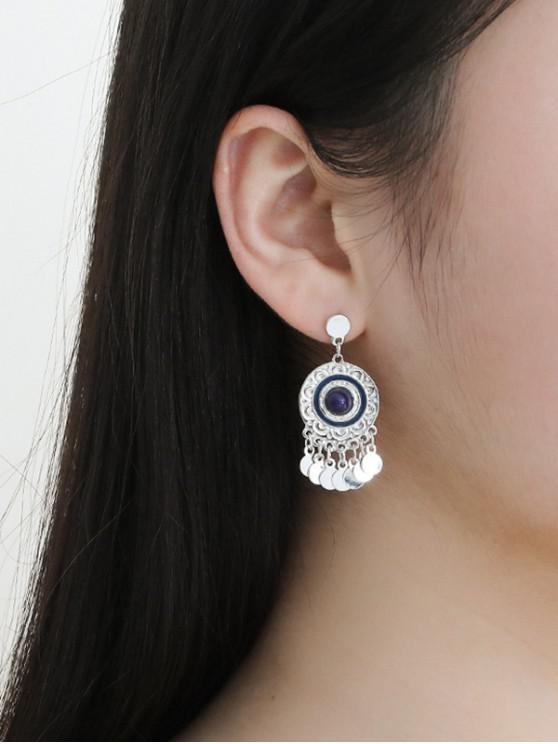 chic Flower Embossed Bohemian Drop Earrings - SILVER
