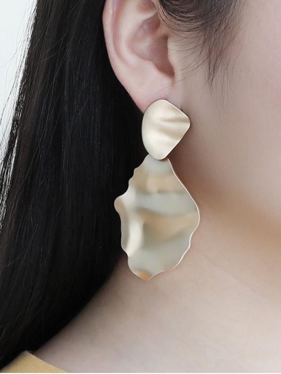 fancy Alloy Hammered Drop Earrings - GOLDEN
