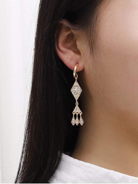 womens Rhinestone Geometric Shape Drop Earrings - GOLDEN