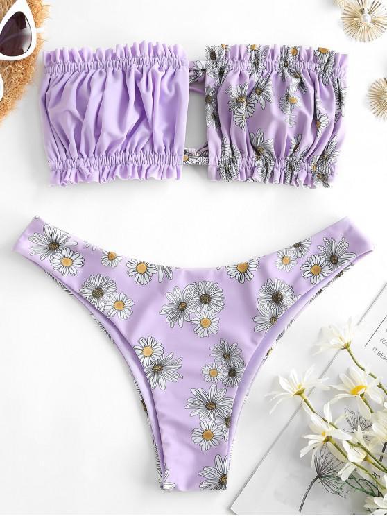 fancy ZAFUL Daisy Floral Ruched Bandeau Frilled Bikini Swimwear - LIGHT PURPLE S