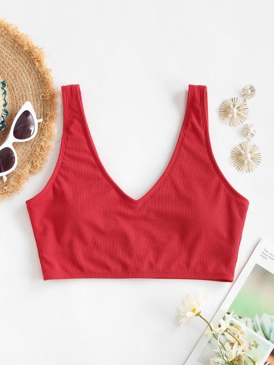 ZAFUL V Cut Ribbed Cropped Bikini Top - أحمر M