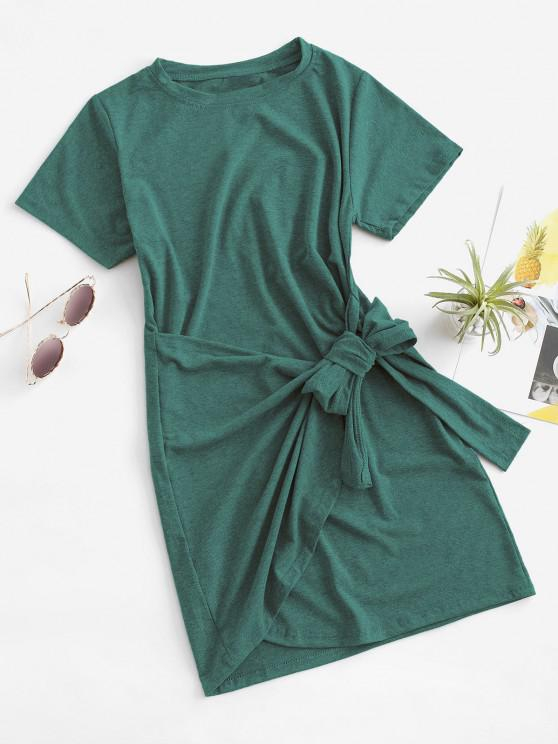 hot Overlap Tie Short Sleeve Tee Dress - LIGHT GREEN M