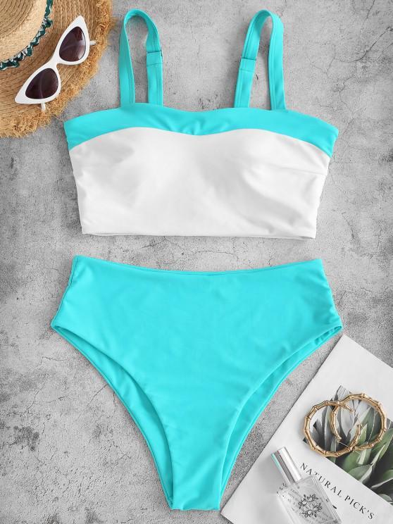 new ZAFUL Two Tone High Cut Tankini Swimsuit - LIGHT BLUE M