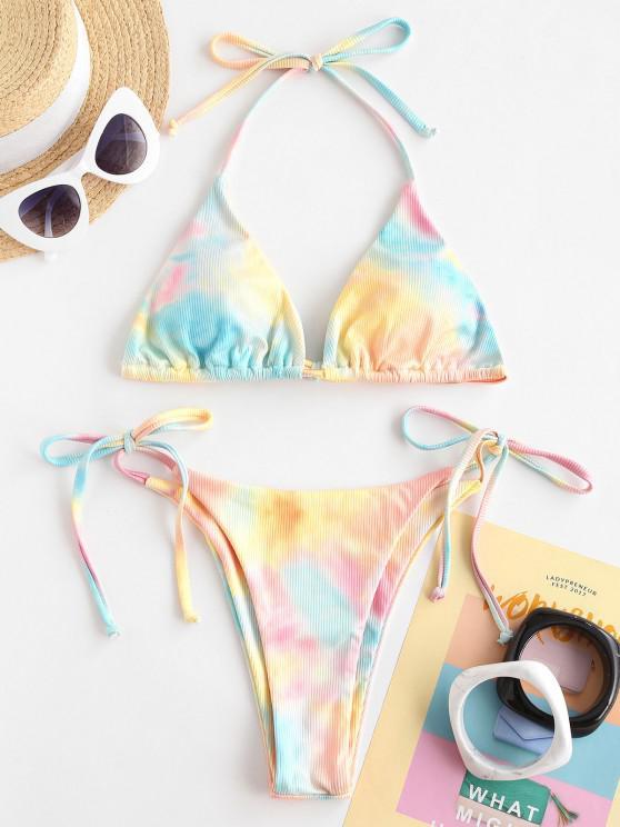 affordable ZAFUL Watercolor Dreamland Ribbed Halter String Bikini Swimwear - LIGHT ORANGE S