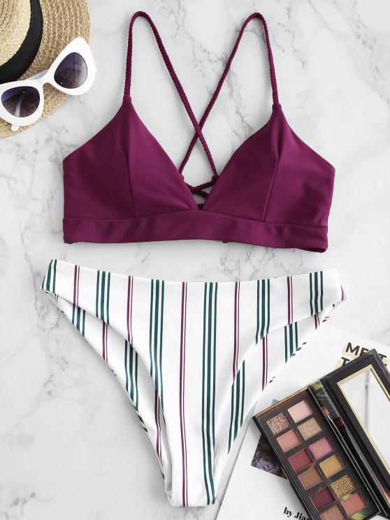 affordable ZAFUL Plaited Lace-up Striped Bikini Swimwear - DEEP RED M