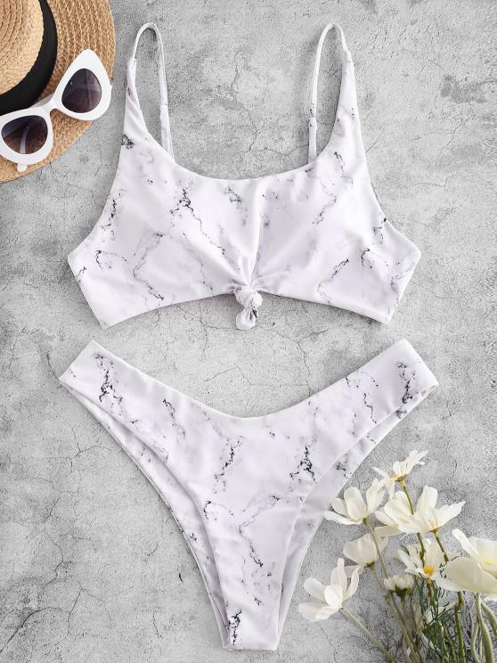 women ZAFUL Marble Print Knot High Leg Bikini Swimwear - WHITE L