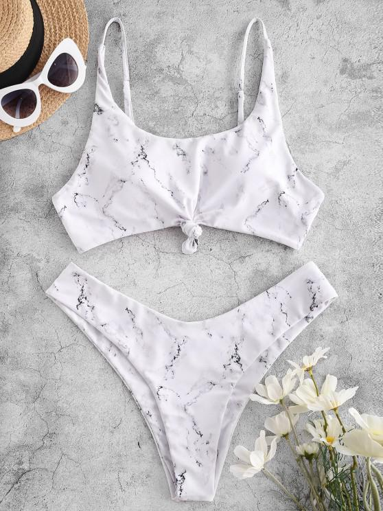buy ZAFUL Marble Print Knot High Leg Bikini Swimwear - WHITE S