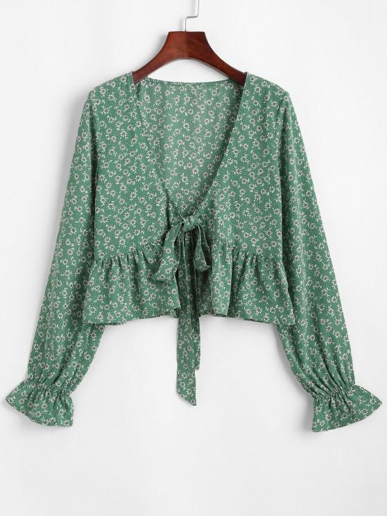 online ZAFUL Ditsy Print Tie Front Flounce Blouse - JUNGLE GREEN S