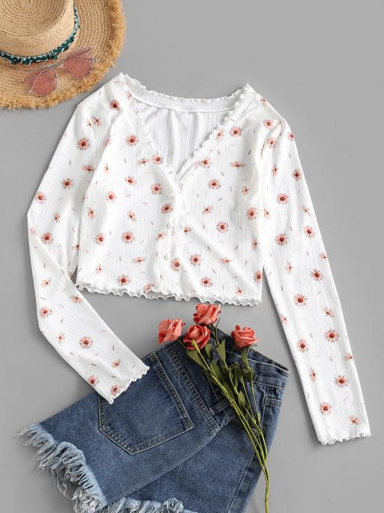 fashion ZAFUL Floral Print Button Up Cropped T-shirt - WHITE S