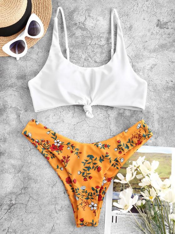 ZAFUL Verknoteter Bikini Badebekleidung mit Hohem Bein und Blumenmuster - Gelb S