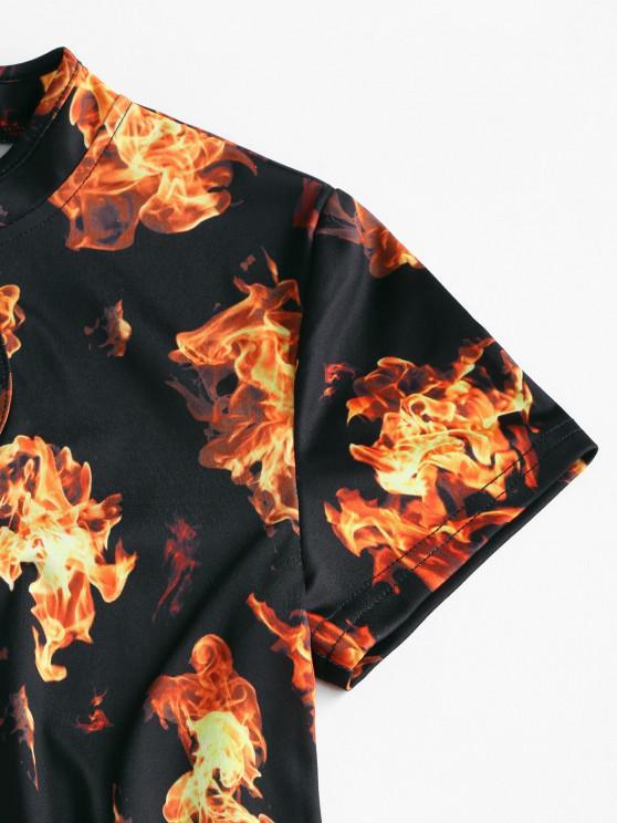 ZAFUl Fire Print Slit Mini Cheongsam Dress - Black M