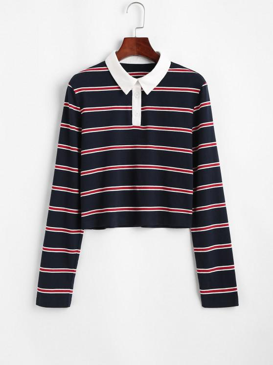 chic ZAFUL Stripe Half Button T Shirt - LAPIS BLUE M