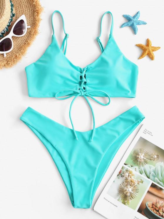 buy ZAFUL Solid Lace Up High Cut Bikini Swimwear - LIGHT BLUE S