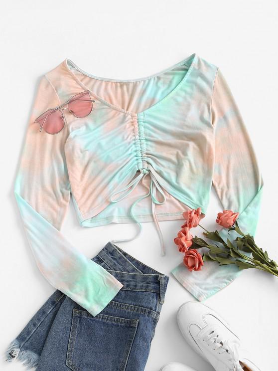 buy ZAFUL Cinched Tie Dye Crop T Shirt - MULTI-A XL