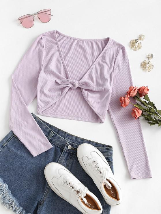 trendy ZAFUL Knot Front Ribbed Cropped T-shirt - MAUVE L