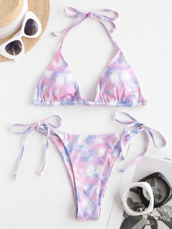 ZAFUL Süße Krawattenfärbender Gerippte Bikini Badebekleidung - Helles Lila S