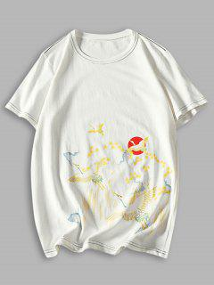 Camiseta Manga Larga Estampado Grulla Pintura China Costuras - Blanco Xs