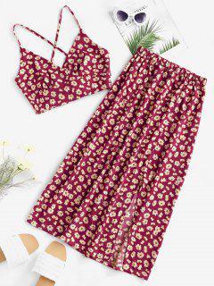 Daisy Print Tie Back Slit Two Piece Dress - Deep Red L
